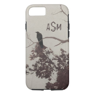 A Crow on a Branch in a Tree with Burgundy Leaves iPhone 8/7 Case