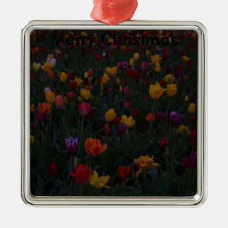 a crowd of tulips, Merry Christmas Silver-Colored Square Decoration