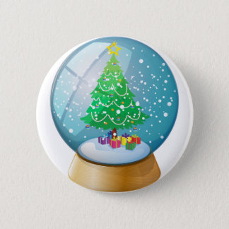 A crystal ball with a Christmas tree 6 Cm Round Badge