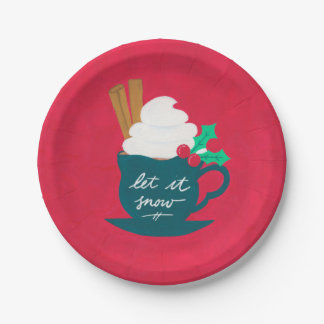 A Cup of Let It Snow Paper Plate