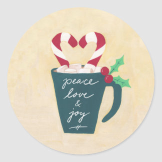 A Cup of Peace, Love and Joy Classic Round Sticker