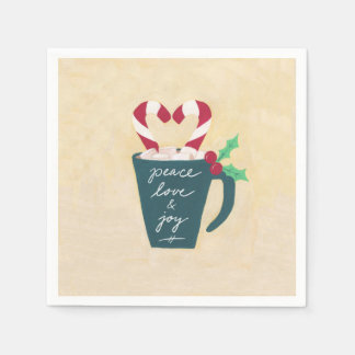 A Cup of Peace, Love and Joy Disposable Serviette