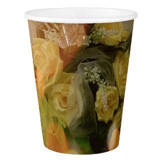 A Cup Of Sunny Yellow Roses Paper Cups