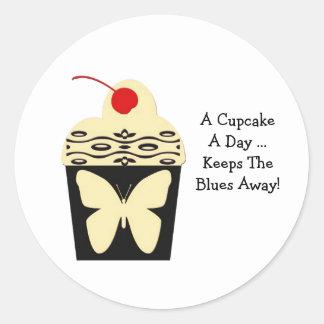 A Cupcake a Day yellow black design sticker
