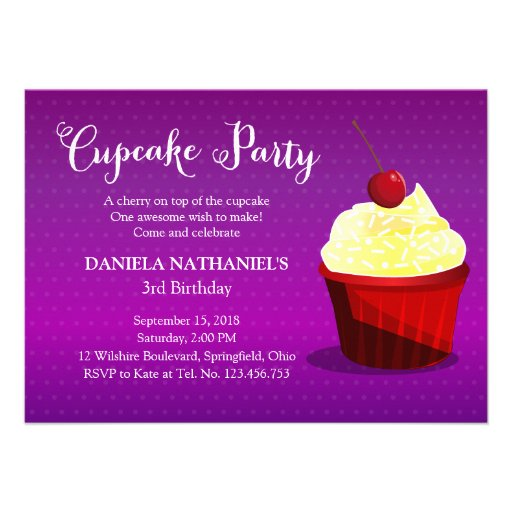 A Cupcake Birthday Party Invitation