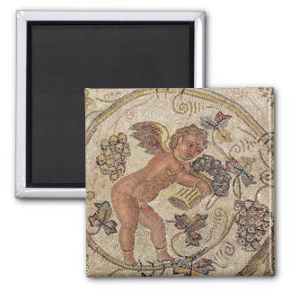 A cupid picking grapes, fragment of pavement refrigerator magnet