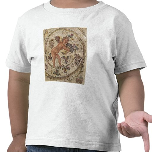 A cupid picking grapes, fragment of pavement tees