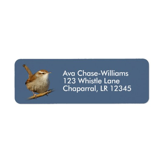 A Curious Bewick's Wren in the Tree Return Address Label