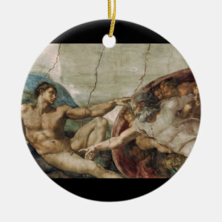A curious god. round ceramic decoration