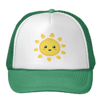 A cute and happy sun that shines brightly around mesh hat