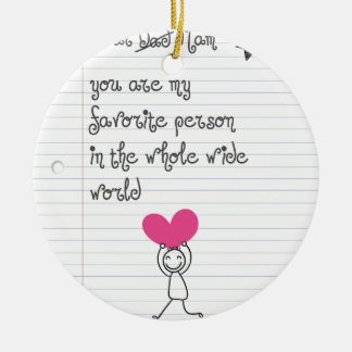A cute and quirky doodle for mums. round ceramic decoration