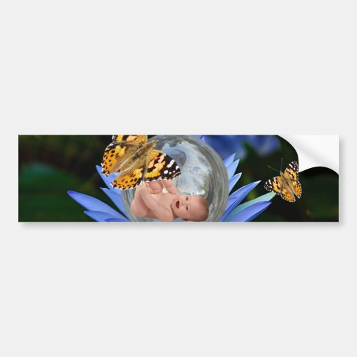 A cute baby lily butterfly bubble bumper sticker
