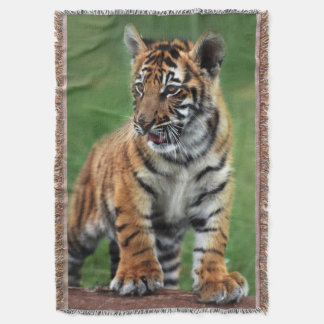 A cute baby tiger throw blanket