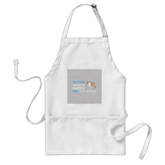 A Cute Bulldog Cartoon With nice Happy Quote Standard Apron