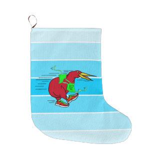 A cute cartoon Kiwi running wearing shoes Large Christmas Stocking