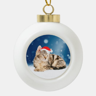 A Cute Cat wearing red Santa hat Christmas Snow Ceramic Ball Decoration