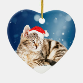 A Cute Cat wearing red Santa hat Christmas Snow Ceramic Heart Decoration