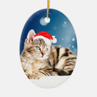 A Cute Cat wearing red Santa hat Christmas Snow Ceramic Oval Decoration