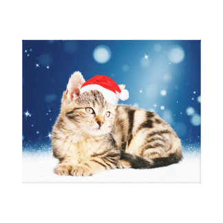 A Cute Cat wearing red Santa hat Christmas Snow Gallery Wrapped Canvas