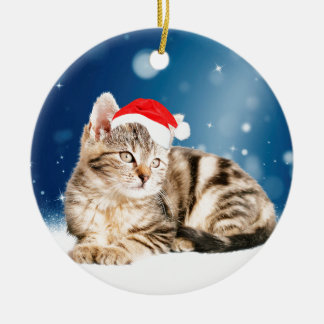 A Cute Cat wearing red Santa hat Christmas Snow Round Ceramic Decoration