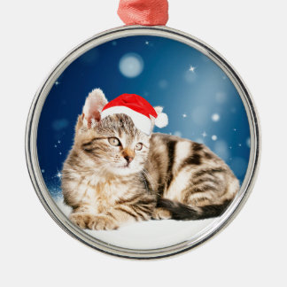 A Cute Cat wearing red Santa hat Christmas Snow Silver-Colored Round Decoration