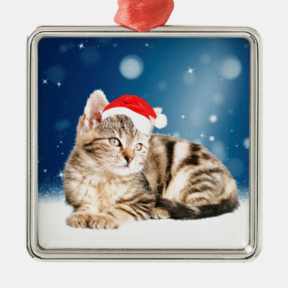 A Cute Cat wearing red Santa hat Christmas Snow Silver-Colored Square Decoration