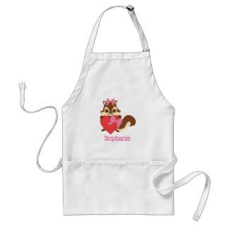 A cute chipmunk with a heart standard apron