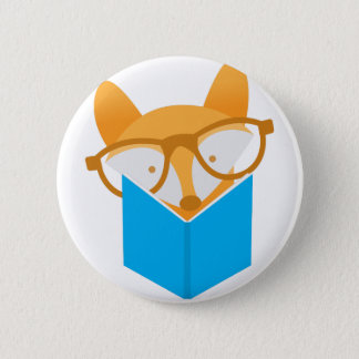 a cute fox reading 6 cm round badge