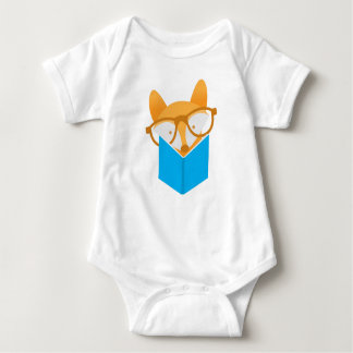 a cute fox reading baby bodysuit