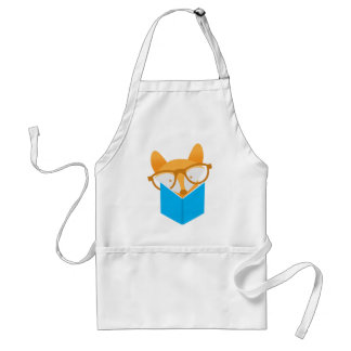 a cute fox reading standard apron