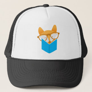 a cute fox reading trucker hat