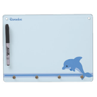 A Cute Happy Dolphin Dry Erase Board With Key Ring Holder