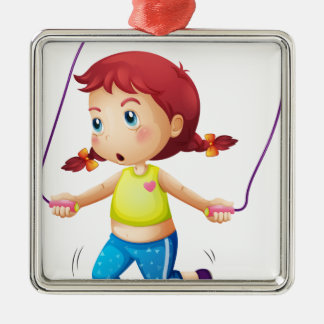 A cute little girl playing skipping rope Silver-Colored square decoration