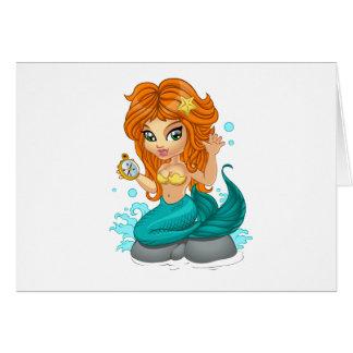 A Cute little mermaid and a compass Card