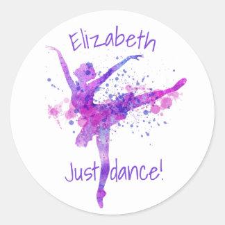 A Cute Pink and Purple Ballerina Dance Classic Round Sticker