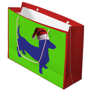 A Cute Purple Dachshund wearing a Santa Claus Hat Large Gift Bag