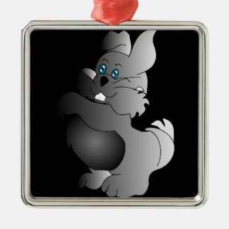A cute white Easter Bunny cartoon Silver-Colored Square Decoration