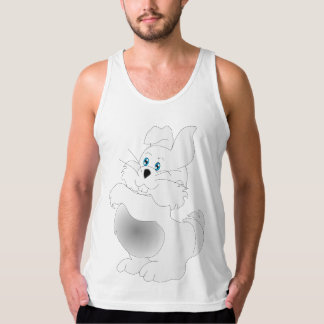 A cute white Easter Bunny cartoon Singlet