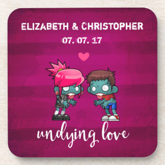 A Cute Zombie Couple Undying Love Wedding Coaster