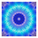 a cyan mandala for throat chakra (communication) poster