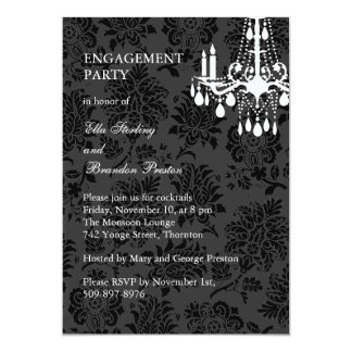 A Damask Victorian Engagement Party Invitation