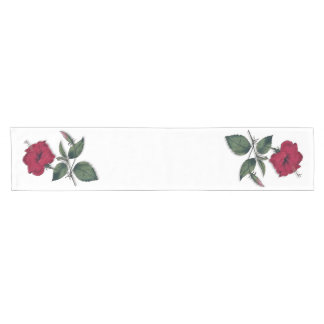 A Dark Red Tropical Hibiscus Short Table Runner