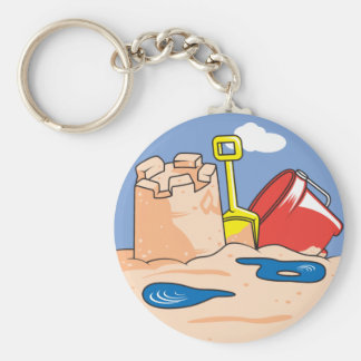 a day at the beach basic round button key ring