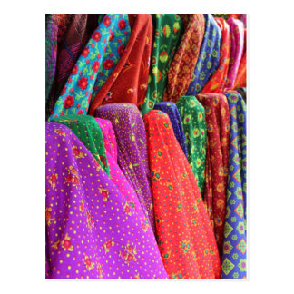 A day at the fabric market postcard