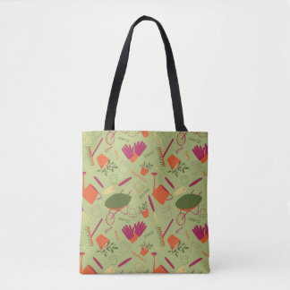 A Day in the Garden - Gardening Tote Bag - Green