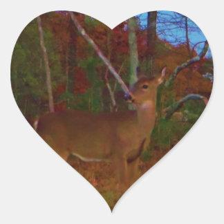 A Deer: Gold Red Green and Blue Heart Sticker