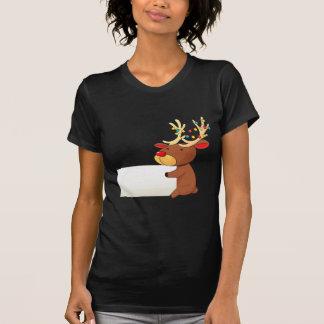 A deer holding an empty signboard shirts
