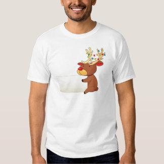 A deer holding an empty signboard tee shirts