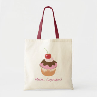 A Delicious Iced Cupcake with Cherry and Cream Canvas Bags