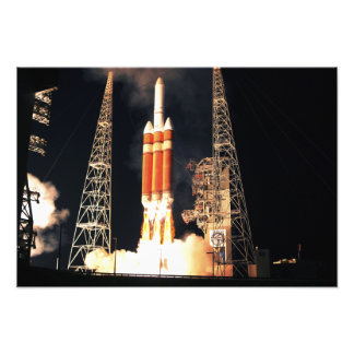 A Delta IV Heavy rocket lifts off Photo Print